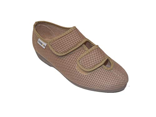 Zapatilla de Calle/Mujer/Cosdam/Ancho Especial/Empeine Téxtil/Suela de Goma/Color: Beige/Cuña 3 cm/Talla 36