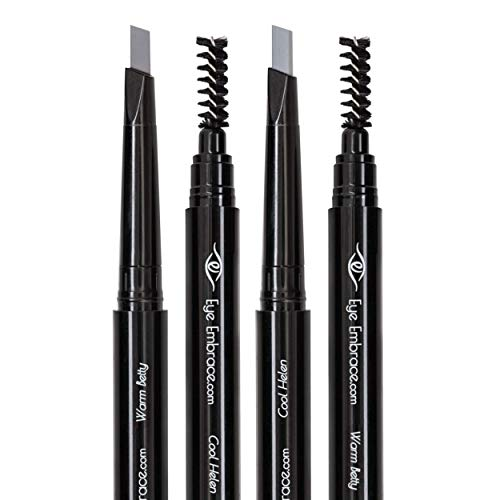 Light Gray Eyebrow Pencil: Warm Betty & Cool Helen Bundle – Waterproof, Double-Ended Automatic Angled Tip & Spoolie Brush, Cruelty-Free