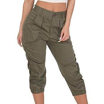 Toimothcn Women s Cargo Pants Quick Dry Hiking Capri Outdoor Anytime Casual Straight Capris Pants Green,XXL