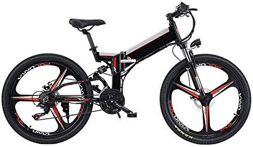 XDHN Bicicleta Eléctrica Térmica Batería Plegable Extraíble Smart Meter 48V12Ah Batería De Litio Luces Led Delanteras Y Traseras Adecuado para Hombres Y Mujeres, Negro