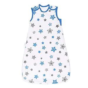 HAIHF Saco de Dormir para Bebé 0.5 TOG 70CM Saco de Dormir de Algodón Unisex para Patrón Animal 3-18 Meses, Estrellas…