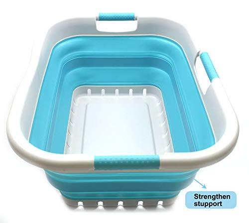 SAMMART Wäschekorb aus Kunststoff, faltbar, faltbar, tragbar, platzsparend' (Grau/Hellblau, 3 Rechteckig Behandelt)