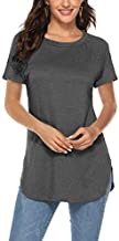 Summer Shirts for Women Short Sleeve Tunic Tops to wear with Jeans (L,Dark Grey)