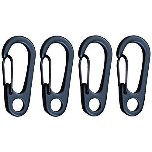 hjuns 4 Mini printemps mousqueton porte-clés Anneau Boucle Split Clip Crochet Camping Randonnée noir Noir