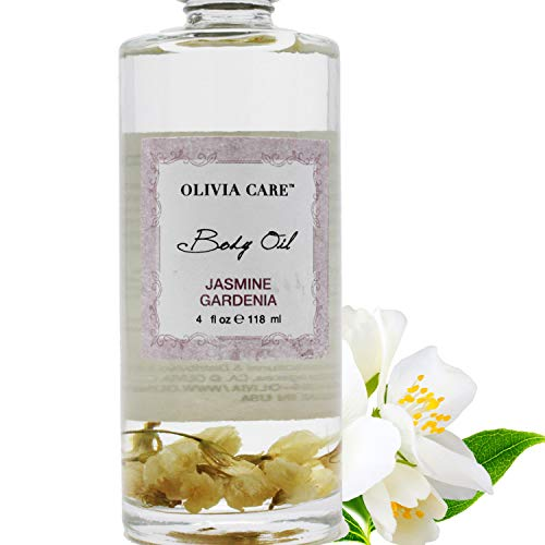 Jasmine Gardenia Body Oil - Vegan & Natural - Hydrate & Moisturize. Infused with VITAMIN E, K & Omega Fatty Acids - Refreshing Fragrance - Reduce Dry Skin, Anti-Aging Properties - 4 OZ