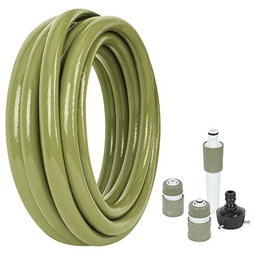 JonesHouseDeco PVC Manguera para Jardin 10m 1/2'' (13mm) con Connectores Ducha Manguera Riego Flexible de Agua