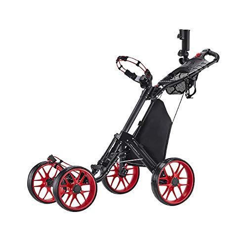 CaddyTek plegable Carrito de golf 4 ruedas con bolsa de almacenamiento -rojo