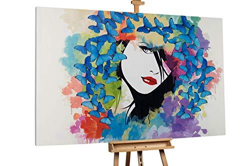 Kunstloft® Extraordinario Cuadro al óleo 'Butterflies' 180x120cm | Original Pintura XXL Pintado a Mano sobre Lienzo | Mujer Mariposa Geisha Multicolor | Mural de Arte Moderno