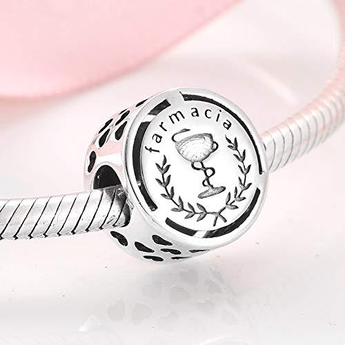 ZSCZQ Cuentas de Plata esterlina 925 con símbolo Doze Sinal de carreira para Hacer Joyas, Pulsera Original con Encanto para Mujer, Collar de Farmacia