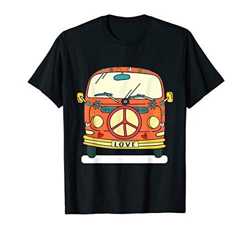 Hippie Kostüm - Retro Camper Peace Love Flower Power Bus T-Shirt