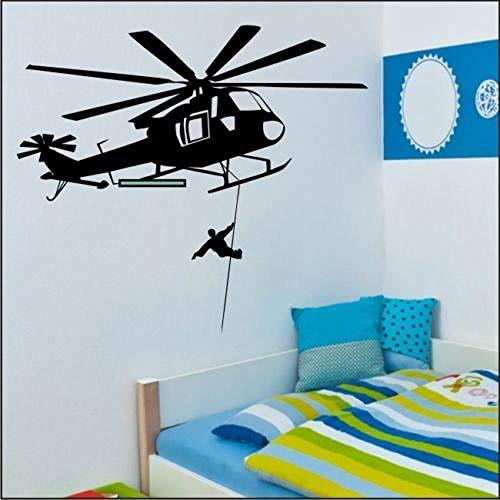 HFWYF Rettungshubschrauber Aufkleber Schlafzimmer Büro Vinyl Wandtattoo 84x95 cm