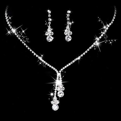 Simsly Juego de collares y pendientes de cristal para novia y boda, joyería de plata, collar de novia, cadena ajustable para mujeres y niñas (juego de 3)