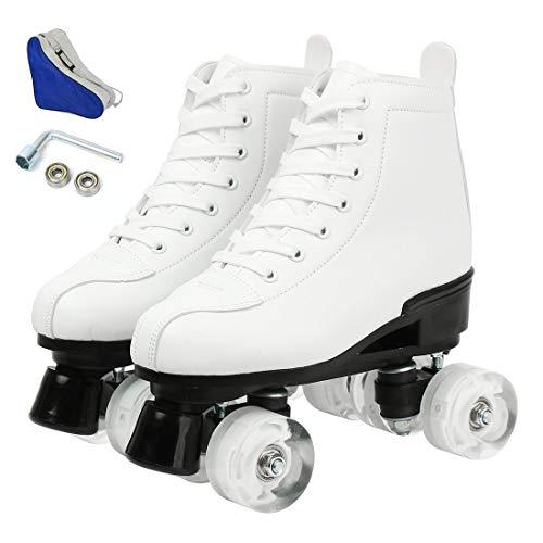 XUDREZ Rollschuhe für Damen im Freien, zweireihig, 4 Gummirollen, Rollschuhe verstellbar, klassischer Leder-Rollschuh für Erwachsene Größe 37/39/40/40/42/44/41 (Weiß ohne Blitzrad, 41)