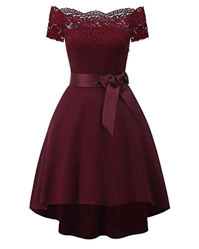 Chowsir Women Off Shoulder Lace Bridesmaid Cocktail Party Midi Dress (X-Large, Wine)