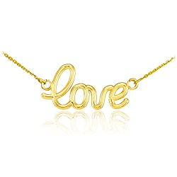 High Polish 14k Yellow Gold Love Script Necklace, 18""