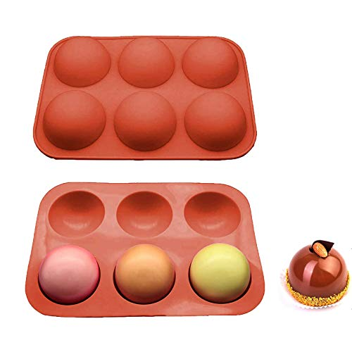 Semi Sphere Silicone Mold, 2 Packs Baking Mold for Making Hot Chocolate Bomb, Cake, Jelly, Dome Mousse,Handmade Soap DIY (B-2PC)