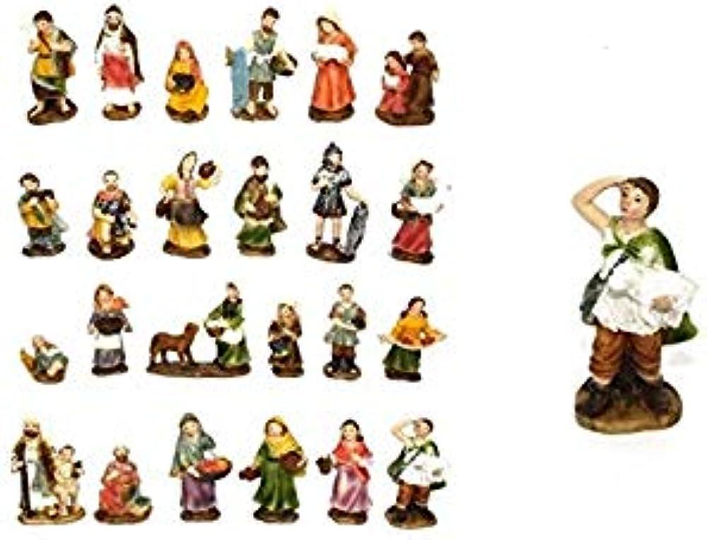 Statuine pastorelli alta qualità 7cm per presepe 24 pezzi 8033113302091