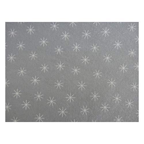 Braun & Company 3340-1111 - Mitteldecke Serie 25+ Silver Star, 80 x 80 cm, Sterne, Tischdecke, Tischtuch, Airlaid-Tissue, Made in Germany, Festtafel, Partyzubehör, Dekoration, Haushalt