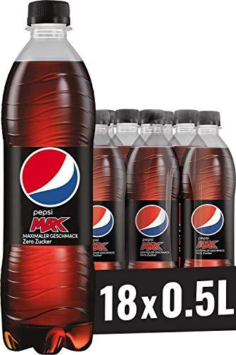 Pepsi Max, Das zuckerfreie Erfrischungsgetränk von Pepsi ohne Kalorien, Koffeinhaltige Cola in der Flasche (18 x 0,5l)