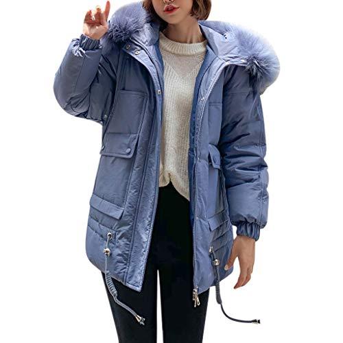 Damen Winterjacke verdickte Daunenjacke warm dick Oberbekleidung Kapuzenmantel Slim Baumwolle wattiert Jacke, Damen, blau, XX-Large