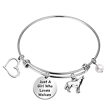 FAADBUK Funny Wolfes Bracelet Animal Lover Gift Just A Girl Who Loves Wolfes Jewelry Bracelet Wolfes Lover Gift Wolfes Jewelry  Wolfes BR-S