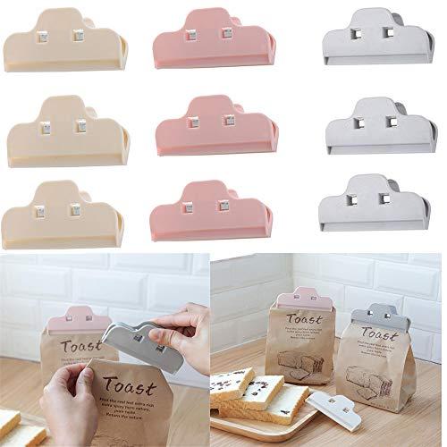 VEIREN - Clips de sellado para bolsas de alimentos de cocina, 9 unidades, color beige, gris, rosa