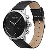 Nordgreen Pioneer Men's Chronograph Watch Scandinavian Silver 42mm with Black Dial and Black Leather Strap 14032