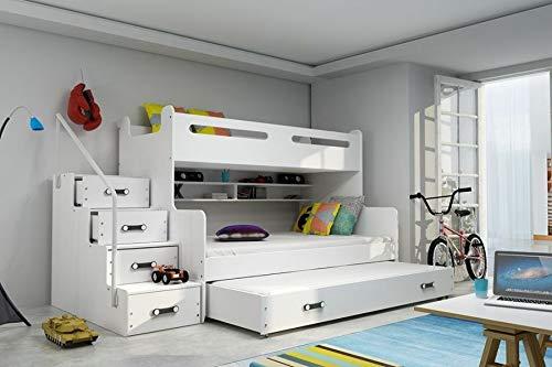 BMS Etagenbett Luca II: Treppe mit Schubladen +Bettkasten, Weiß