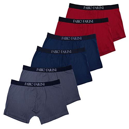 Fabio Farini 6er Pack Boxershorts Herren aus Baumwolle Retroshorts Men Unterwäsche Pants - Farbmix Navy/Rot/Grau Größe M