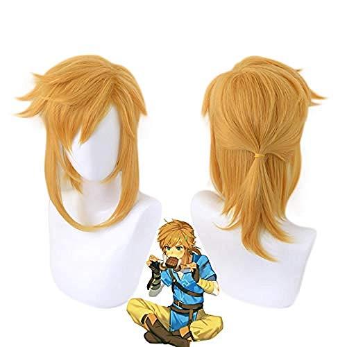 La leyenda de Zelda Breath of the Wild Link peluca de cola de caballo corta Cosplay disfraz pelo sinttico resistente al calor hombres mujeres pelucas
