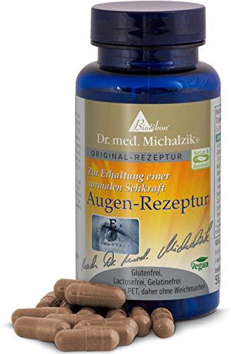Augen-Rezeptur nach Dr. med. Michalzik®, mit Lutein, Zeaxantin, Heidelbeer-Extrakt (Anthocyane), OPC, L-Taurin, Vitamin A, Alpha-Liponsäure, Zink - ohne Zusatzstoffe, 90 vegane Kapseln - von BIOTIKON®