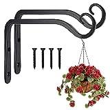 Paquete de 2 ganchos negros para colgar en la pared, soportes de canasta para colgar en la pared de hierro forjado de metal colgante para comederos/plantas/linternas/campanas de viento (con tornillos)