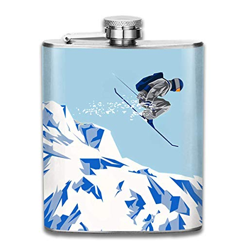 dfegyfr Stainless Steel Flasks 7 Oz Airborn Skier Flying Whiskey Flask Hip Flask Leak Proof Wine Men Women