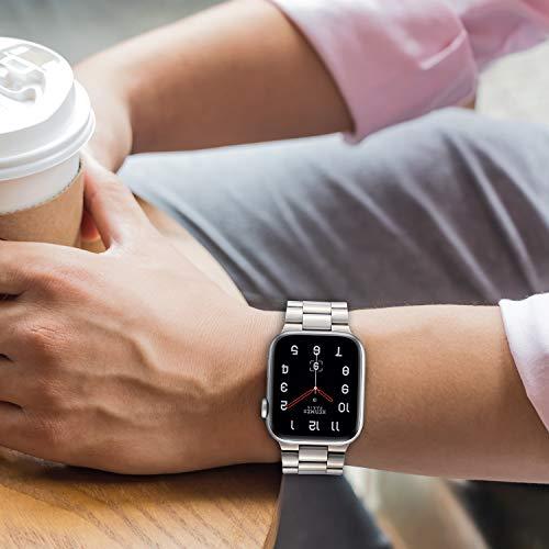 Tasikar Armband Kompatibel mit Apple Watch Armband 42mm 44mm Prämie Edelstahl Metall Ersatz Armband für Apple Watch Series 6 Series 5 Series 4 Series 3/2 /1, SE (Silber)