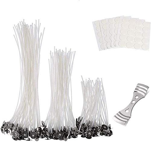 Kerzendochte (10 cm, 15 cm und 20 cm), Dochte für Kerzen, mit 150 doppelseitigen Docht-Aufklebern und 1 x 3-Loch-Kerzenhalter für selbstgemachte Kerzen, Handwerkzeuge, Kerzendochte.