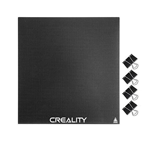 Creality Ender 3 Piattaforma Lastra di Vetro con 4 clip per stampanti 3D Aggiornata, Piattaforma per Ender 3/ Ender 3 Pro/ Ender 3 V2/ Ender 5, 235x235x4mm
