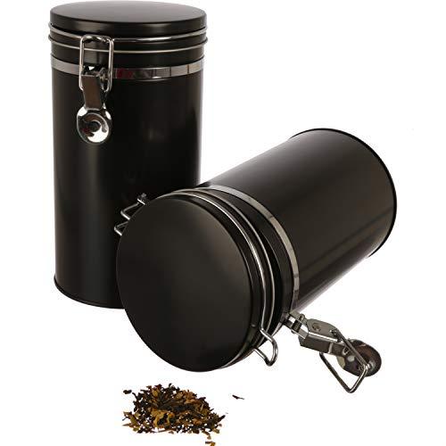 Dosenritter | 2X Kaffeedose/Vorratsdose mit Bügelverschluss und Silikondichtung, luftdicht aus Metall für je 500g Kaffee | 20 x 10.4cm (H,ø) | auch ideal als Mehl- oder Reisdose