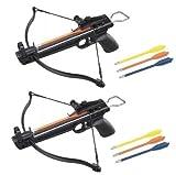 2 Pack 50 Lb Crossbow Gun Pistol Hand Held Archery Hunting Cross Bow w/ Arrows