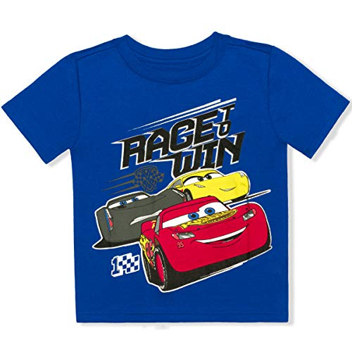 Disney Cars 3 Boys Short Sleeve Tee (4T, Win Blue)