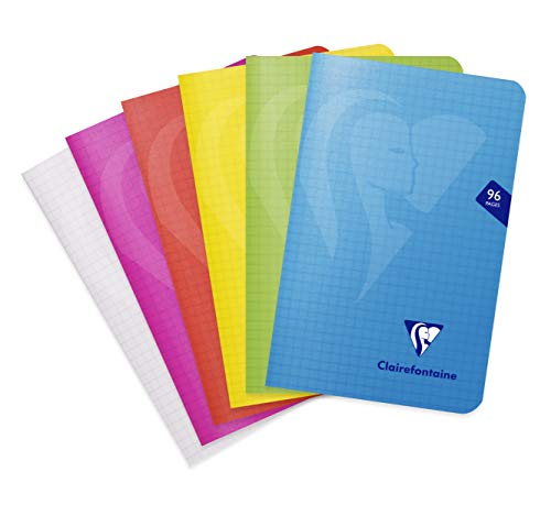 Clairefontaine 303602C - Un carnet piqué Mimesys 96 pages 11x17 cm 90g petits carreaux, couverture polypro (plastique), couleur aléatoire