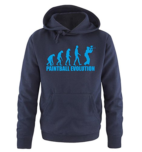 Comedy Shirts Paintball Evolution – Pull à Capuche Taille S à XXL vers. Couleurs - Bleu - X-Large