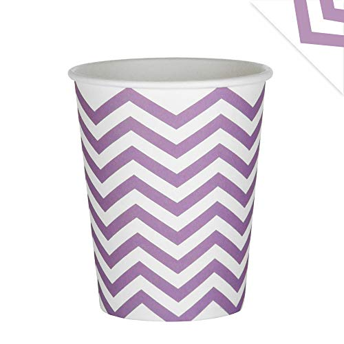EinsSein 48x Pappbecher Wave 53x75x88mm weiß-Flieder Papierbecher Wellen Party Becher aus Pappe Partygeschirr Pappgeschirr