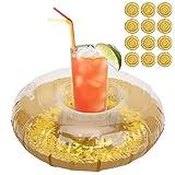Zhat Flotadores de Soporte para Bebidas de Piscina, flotadores de Piscina inflables 12 Piezas para Piscina para Lago para bañera para SPA
