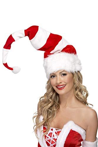SMIFFYS Smiffy's Cappello a righe da Babbo Natale, Rosso e bianco, con cordoncino Uomo, Rosa & bianco, Taglia unica, 38328