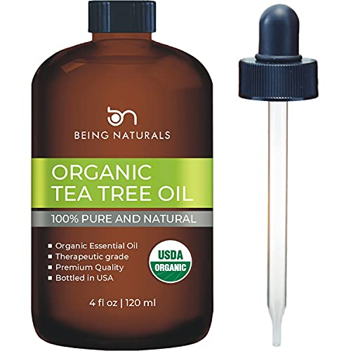 Organic Tea Tree Essential Oil - Huge 4 FL OZ - 100% Pure & Natural – Premium Natural Oil with Glass Dropper (Tea Tree Oil, 4 fl oz)