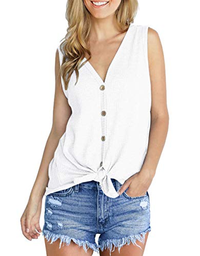 IWOLLENCE Womens Loose Henley Blouse Sleeveless Button Down T Shirts Tie Front Knot Tops White Medium