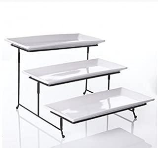 WCI 3 Tier Rectangular Serving Platter Set With Metal Rack - Three Tiered Dessert Cake Appetizer Set Display Tray Stand, WHITE