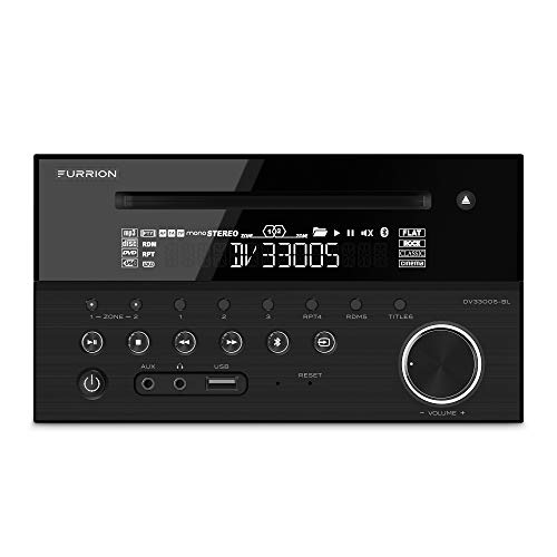 Furrion 120W 2-Zone Entertainment System with a Built-in DVD Player. Supports CD, DVD, MP3, WMA, MP4, AVI, AM & FM Radio with USB, Bluetooth 4.0, NFC & Mobile App connectivity - DV3300S-BL