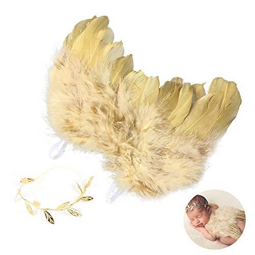 Naisicatar bebés recién nacidos alas del ángel del bebé del oro de la pluma de las alas del ángel con la venda infantil de vestuario apoyo de la foto traje bonito regalo
