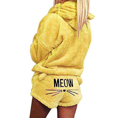 WEIMEITE Chica Mujer Conjuntos Pijama Otoño Invierno Franela Pijamas Cálidos Historieta Mujeres Homewear Animal Ropa de Dormir Gato Pijama